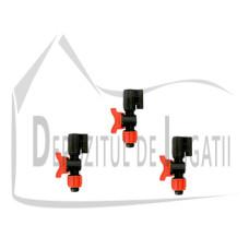 "Adaptor aspersor cu suport de tija 1/2"" x 1/2"" si robinet - EMY;"
