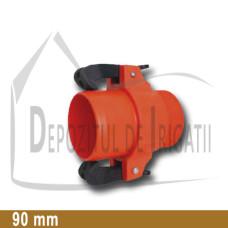 "Adaptor pompa plastic aripa de ploaie, 90 x 3"" Fe, tata (cu clesti);"