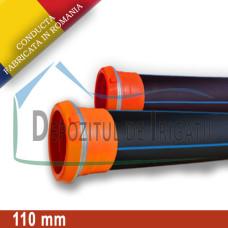Conducta aripa de ploaie, mama - mama (fara clesti), D = 110mm, L = 0.5m, PN4 - DDI;